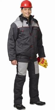 Костюм Фаворит зимний: куртка короткая, полукомбинезон тёмно-серый с серым