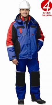 Костюм Фаворит-мега зимний: куртка короткая, полукомбинезон васильковый с черным и красным и светоотражающей полосой