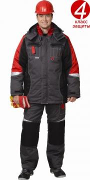 Костюм Фаворит-Мега: зимний куртка длинная, полукомбинезон темно-серый с черным и красным и светоотражающей полосой