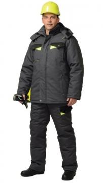 Костюм Ховард: зимний куртка длинная, брюки темно-серый с черным и лимонной отделкой