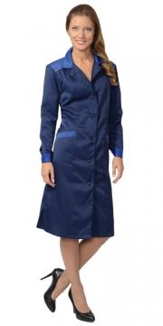 Халат «ТЕХНОЛОГ» женский (тк. смесовая) синий с васильковым