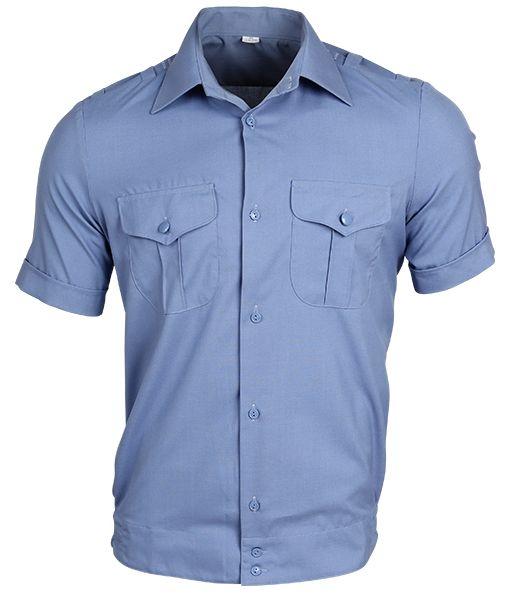 Рубашка полиции с коротким рукавом нового образца голубая