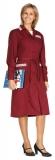 Халат женский цветной (длинный рукав, бордовый)