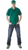 Рубашка-поло короткие рукава зелёная, пл. 205 г/кв.м.