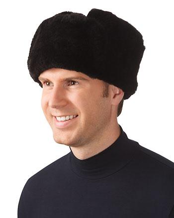 Шапка меховая (овчина) комбинированная с сукном черная