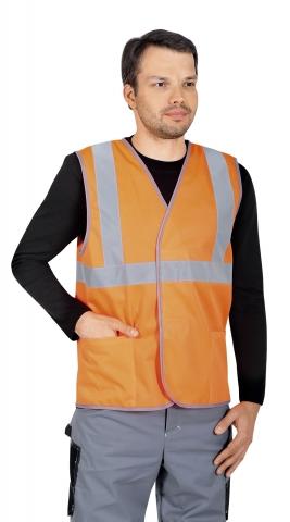 Жилет сигнальный с карманами оранжевый