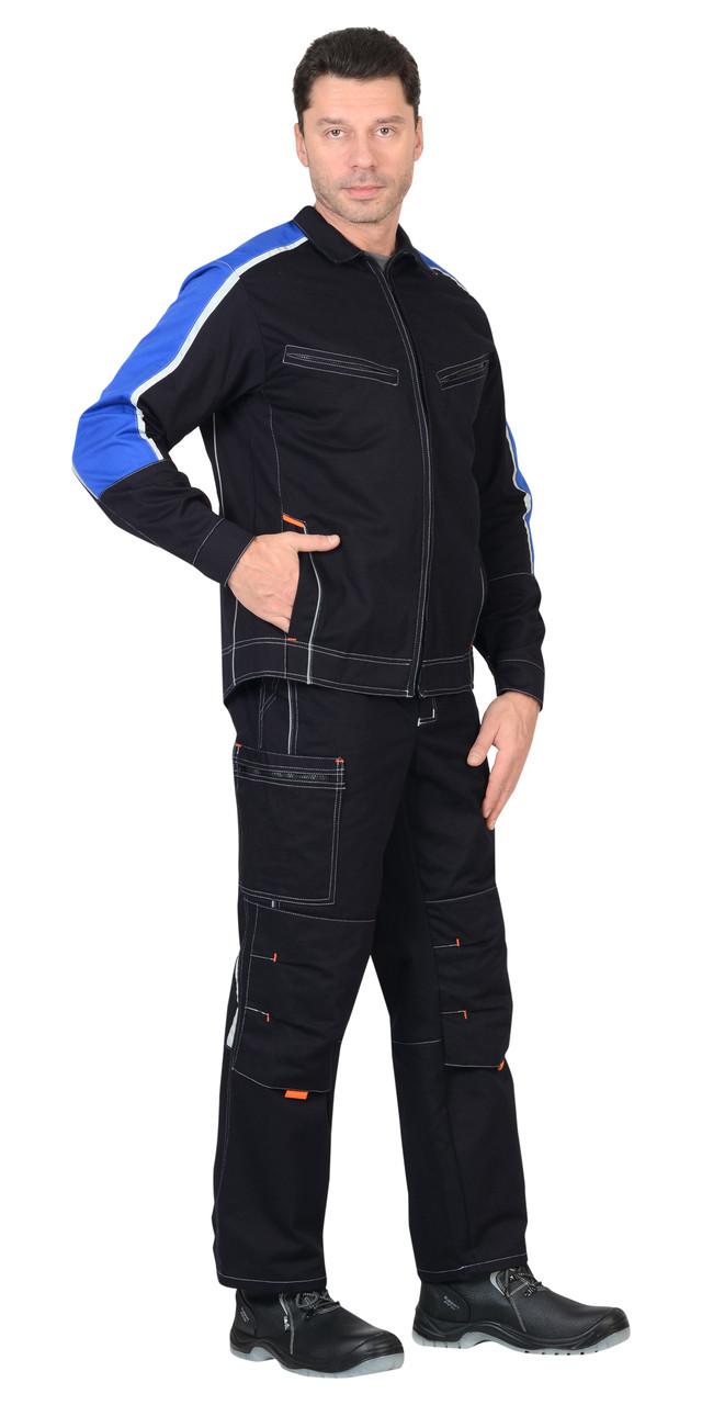 Костюм ДЖЕТ: куртка, полукомбинезон тёмно-синий с васильковым и оранжевой отделкой