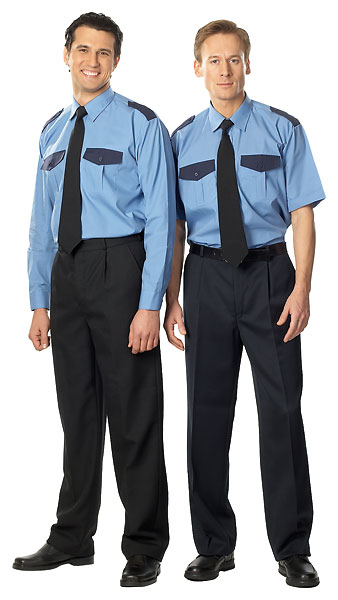 Сорочка мужская «Охранник» с коротким рукавом, голубая с синей отделкой