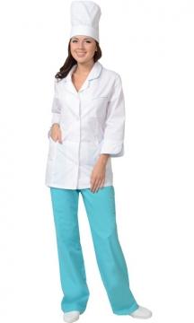 Медицинский костюм Жасмин женский: куртка, брюки, колпак белый со светло-бирюзовым