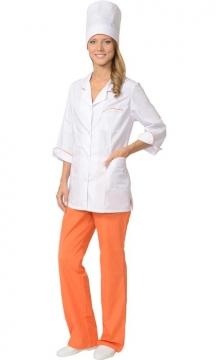 Медицинский костюм Жасмин женский: куртка, брюки, колпак белый с оранжевым