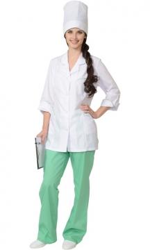Медицинский костюм Жасмин женский: куртка, брюки, колпак белый с салатовым