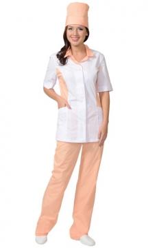 Медицинский костюм Флоренция женский: куртка, брюки, колпак белый с персиковым