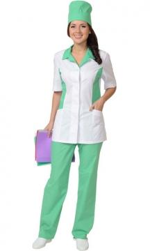 Медицинский костюм Флоренция женский: куртка, брюки, колпак белый с салатовым