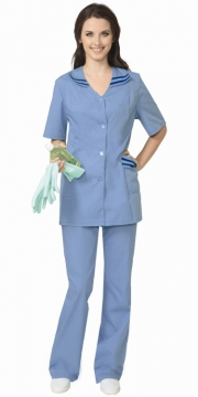 Костюм Женева женский: куртка, брюки светло-голубой с тёмно-синим