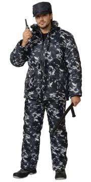 Костюм Охранник зимний: куртка, полукомбинезон камуфляж серый