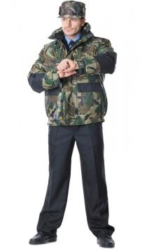 Куртка Дельта камуфлированная Лес с чёрным, короткая