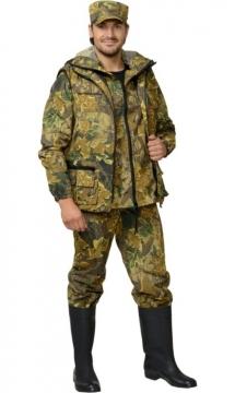 Костюм Охотник: куртка, брюки, жилет камуфляж Дубок жёлтый