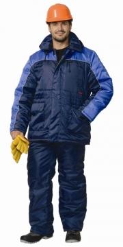 Костюм Балтика: куртка длинная, полукомбинезон тёмно-синий с васильковым