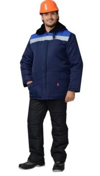 Куртка Бригадир мужская с меховым воротником синяя с васильковым и светоотражающей полосой
