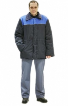 Куртка «БРИГАДИР» дл., муж. (п-но 100% х/б,вата) темно-синяя с васильковым и СОК