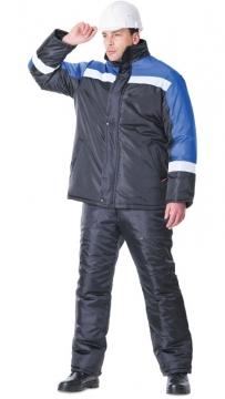 Костюм Гастарбайтер зимний: куртка, брюки чёрный с васильковым и светоотражающей полосой