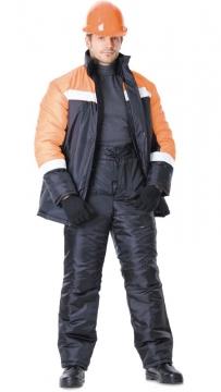Костюм Гастарбайтер зимний: куртка, брюки чёрный с оранжевым и светоотражающей полосой