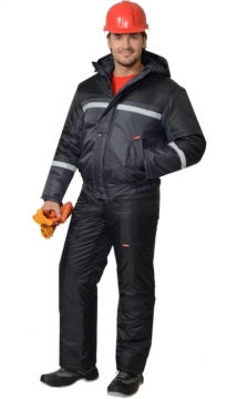 Костюм Гастарбайтер-2 зимний: куртка, брюки тёмно-серый с чёрным и светоотражающей полосой