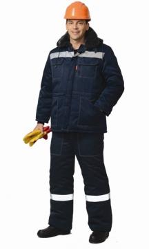 Костюм Легионер-2: куртка короткая, полукомбинезон темно-синий со светоотражающими полосами