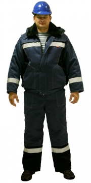 Костюм Мастер-Д: куртка короткая, полукомбинезон тёмно-синий со светоотражающими полосами