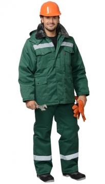 Костюм Мастер-ПРО зимний: куртка длинная, брюки зеленый светоотражающая полоса 50 мм