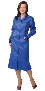 Халат Технолог женский (ткань смесовая) василёк с тёмно-синим