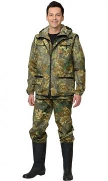 Костюм Охотник: куртка, брюки, жилет камуфляж Дубок зелёный