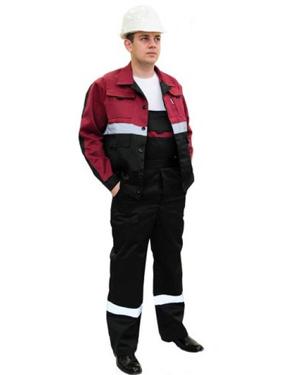 Костюм НОВАТОР летний: куртка, полукомбинезон чёрный с бордо